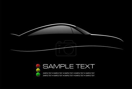 Illustration pour Silhouette blanche de berline de voiture sur fond noir. Illustration vectorielle - image libre de droit