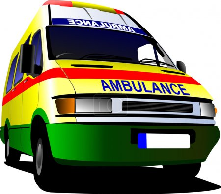 Illustration for Modern ambulance van over white. Colored vector illustration - Royalty Free Image