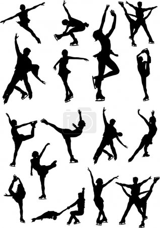 Big set of figure skating black and white silhouettes. Vector il