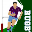Rugby Player Silhouette. Vector illustration...
