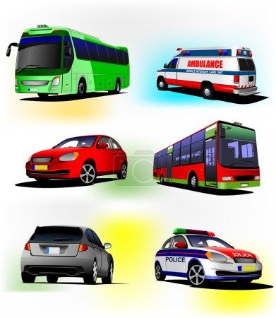 Set of municipal transport images