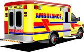 Modern ambulance van over white Colored vector illustration