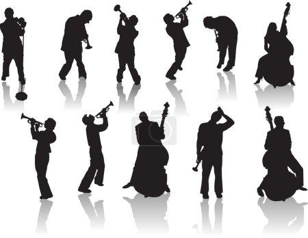 Illustration pour Silhouettes Jazz People. Vecteur - image libre de droit