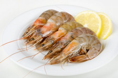 Photo pour Crevettes tigrées crues - image libre de droit