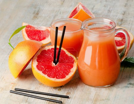 Photo for Healthy food - Grapefruit juice and grapefruit - Royalty Free Image