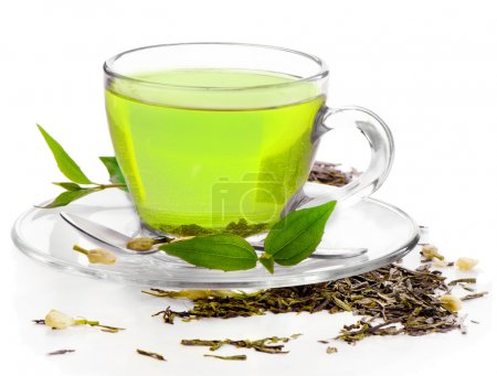 Healthy green tea isolated on white background...