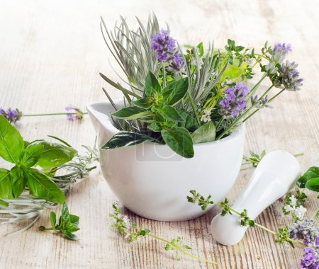 Photo for Fresh herbs on a wooden table - Royalty Free Image