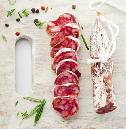 Platter with salami and herbs...