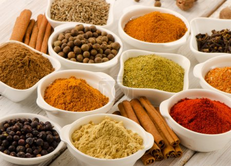Spices in white bowls