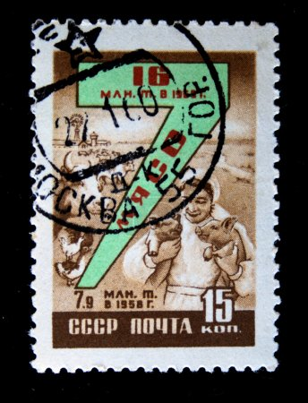 USSR - CIRCA 1958: A stamp printed in the USSR devoted to meat production and shows plesant woman with two pigs, cows and poultry, circa 1958