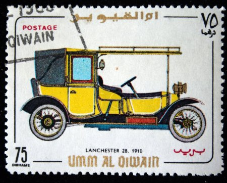 UMM AL QIWAIN - CIRCA 1968: A stamp printed in one of the emirates in the United Arab Emirates shows vintage car Lanchester-28 - 1910 year, full series - 48 of stamps, circa 1968