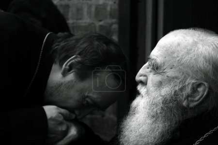Priest kisses had of his mentor