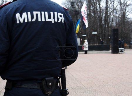 Photo pour Police bouclé la méningite opposition - image libre de droit