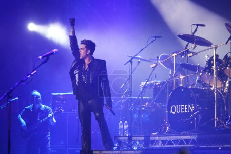 Queen with Adam Lambert perform onstage during charity concert i