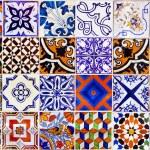 Close up traditional Lisbon ceramic tiles backgrou...