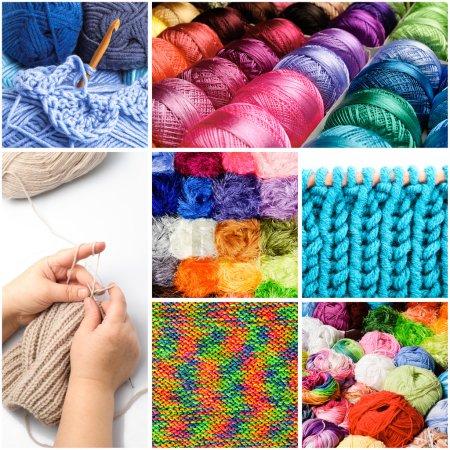 Photo pour Tricot et le crochet de threads dans le collage - image libre de droit