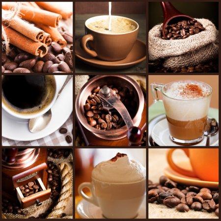 Foto de Café, capuchino, café con leche y granos tostados. concepto de café - Imagen libre de derechos