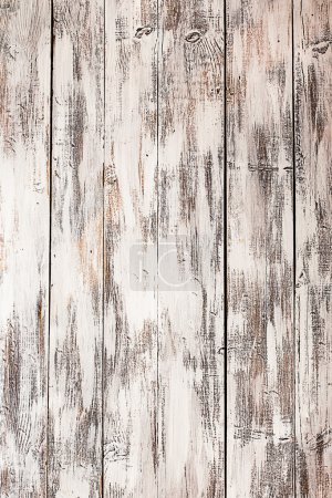 Photo for Empty old shabby white painted wooden background - Royalty Free Image