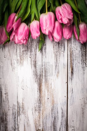 Photo for Pink tulips over shabby white wooden table - Royalty Free Image