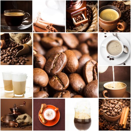 Photo for Aromatic coffee, cappuccino, latte, and roasted beans for menu design - Royalty Free Image