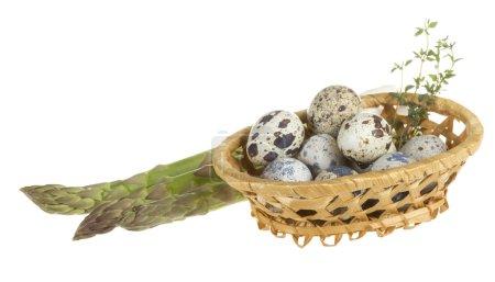 quail eggs in a basket