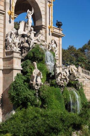 Barcelona ciudadela park lake fountain with golden quadriga of A