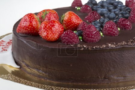 Photo for Chocolate mousse cake with berries - Royalty Free Image