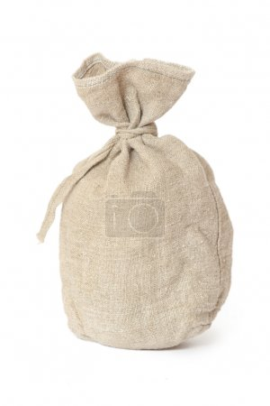 Photo for Brown textured sack. Isolated on white - Royalty Free Image