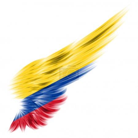 Photo pour Le drapeau de la Colombie sur aile abstraite avec fond blanc - image libre de droit