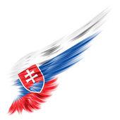 Vlajka Slovenska na abstraktní křídlo s bílým pozadím