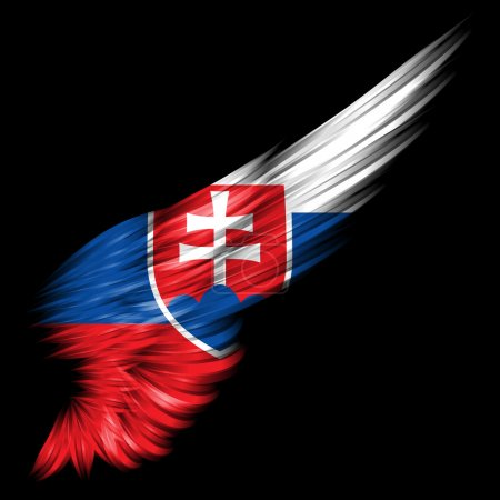 Slovakia Flag on Abstract wing with black background