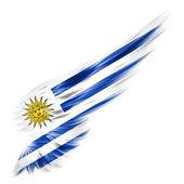 Vlajka Uruguaye na abstraktní křídlo s bílým pozadím