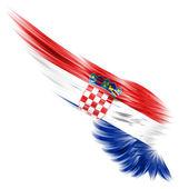 Vlajka Chorvatska na křídlo a bílé pozadí