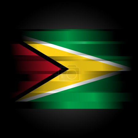 Abstract Flag of Guyana on black background