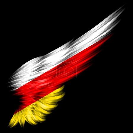 Photo pour Le drapeau d'Ossétie du Sud sur aile abstraite avec fond noir - image libre de droit