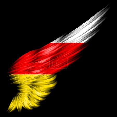 Photo pour Le drapeau de l'Ossétie du Sud sur aile abstraite avec fond noir - image libre de droit