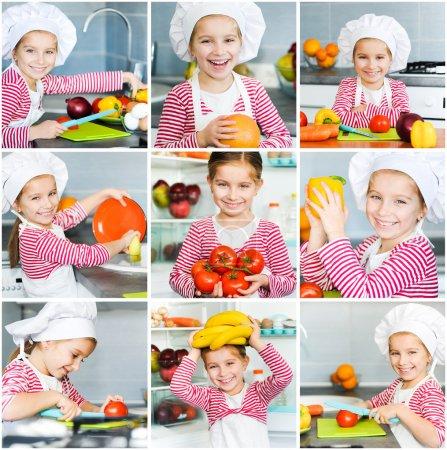 Photo pour Petite fille préparant des aliments sains sur la cuisine. Collage - image libre de droit