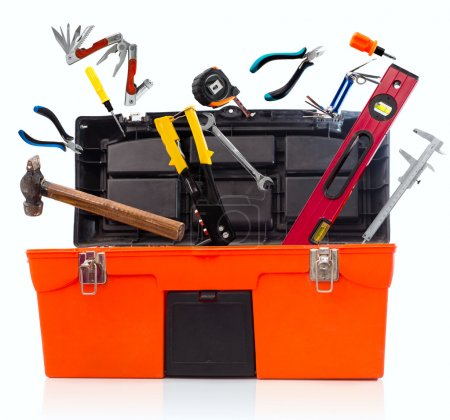 Photo for Toolbox with tools isolated on white background - Royalty Free Image
