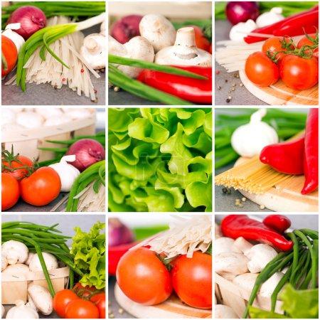 Photo pour Collage de légumes frais sur le gros plan de la table de cuisine - image libre de droit