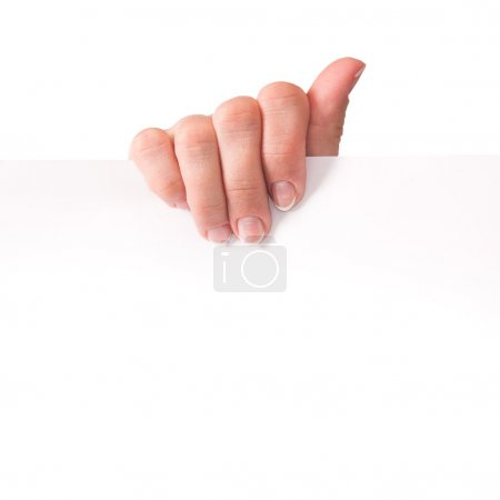 Photo for Advertising. Hand holding white empty paper - Royalty Free Image