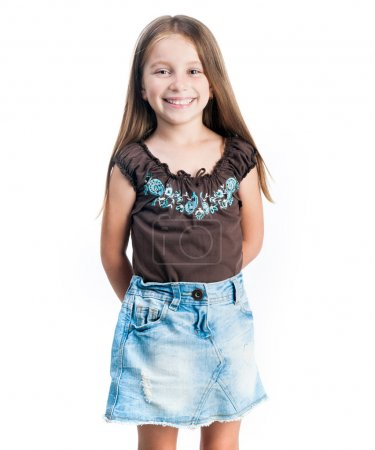 Photo for Little fashion girl isolated on white background - Royalty Free Image