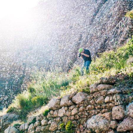 Photo pour Jeune photographe prenant des photos coquelicots de montagne - image libre de droit