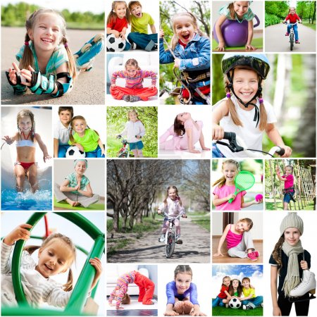 Photo pour Children are involved in sports. collage of photos - image libre de droit