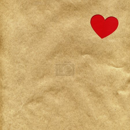 red heart on the kraft paper