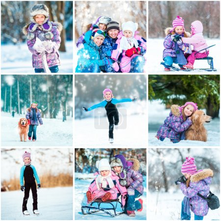 Photo for Set photos of a little girl summer vacation - Royalty Free Image
