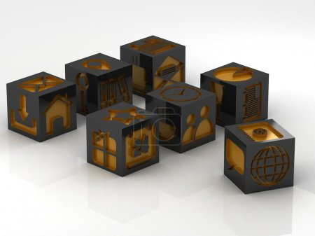 Photo for Metal cube with icons assembling from blocks - Royalty Free Image