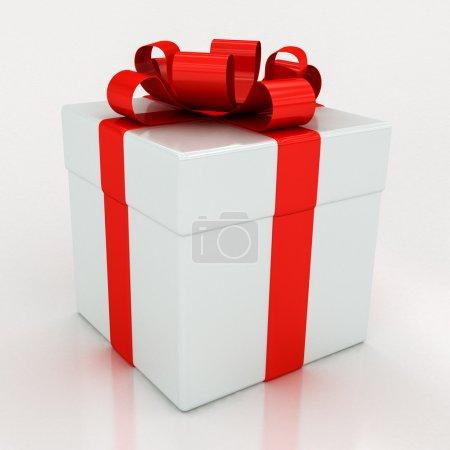 Photo pour Coffrets cadeaux blancs avec ruban rouge sur fond blanc - image libre de droit