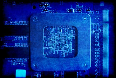Photo for Vintage blue background with electronic circuit board - Royalty Free Image