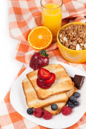 Photo for Breakfast with toasts coffee and fruits - Royalty Free Image