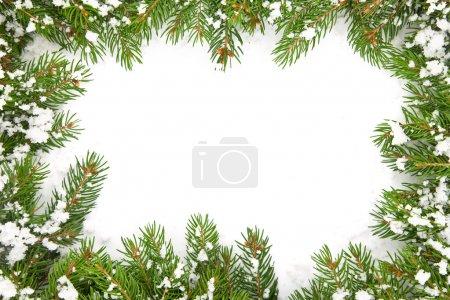 Christmas framework with snow